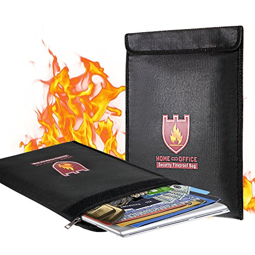 Fireproof Document Bag, 15' x 11' Solid Silicone Coated Fire...