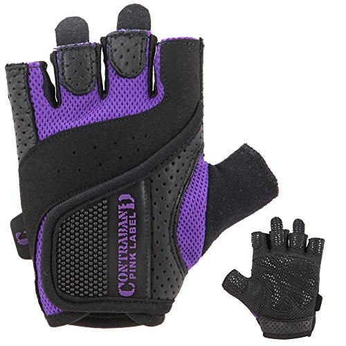 Contraband Pink Label 5137 Womens Padded Weight Lifting Gloves w/Grip-Lock Padding (Pair) - Machine Washable Fingerless Workout Gloves Designed Specifically for Women (Purple, Small)