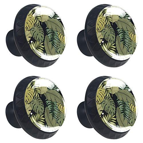 [4 unidades] Perillas decorativas para armarios y muebles, puertas y cajones, tiradores de herrajes con diseño de hojas tropicales