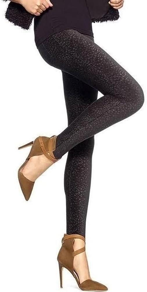 HUE Womens Pincord Corduroy Animal Dot Leggings Black X-Small 0-2