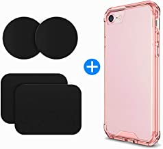 volport for iPhone 7 Plus Case, for iPhone 8 Plus Case, Shock Absorption Technology Bumper Soft TPU Cover Case for iPhone 7 Plus/iPhone 8 Plus - Pink(4 Metal Plates Included)