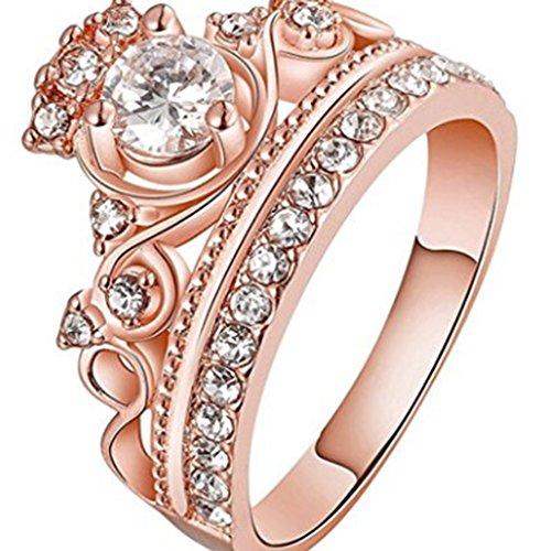 Botreelife Elegant Finger Ring Tiara Crown Shaped Simulated Crystal Diamond Alloy Princess Ring Jewellery Gift for Girls (Rose Gold,5# J 1/2)