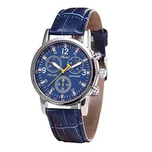Toamen Relojes Para Hombre, Cristal Azul Cuarzo, Cuarzo Neutro Que Simula La Pulsera De Cuero De Correa EpidéRmica. (D)