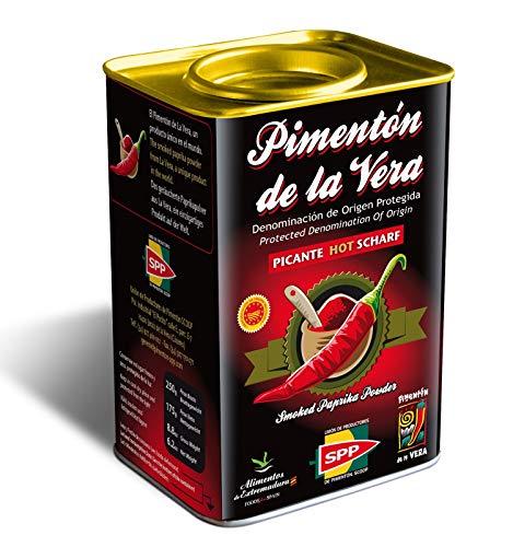 Pimentón de la Vera Ahumado, Picante en Lata de 175 g, Producto con la Denominación de Origen Protegida D.O.P. Condimento Apto para Celíacos.