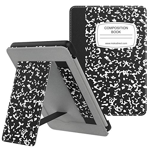 MoKo Case Fits All-New Kindle (10th Generation - 2019 Release), Slim PU Leather Stand Smart Cover Shell with Hand Strap, Will Not Fit Kindle Paperwhite 10th Generation 2018 - Notebook Black