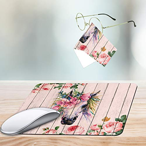 Gaming Mouse Pad,Flower Horse Non-Slip Rubber Mouse Mat,Rectangular Mouse Pad for Laptop,Computers & Office.Matching Microfiber Glasses Cloth for Glasses & Screens.