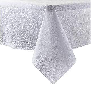 """EMBOSSED DISPOSABLE DINING TABLECLOTH - 54"""" x 108"""" - FALL DESIGN - White"""
