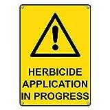 IUBBKI Signo de metal de gran aluminio de la lata de la muestra del herbicida de la aplicación en curso de la señal de 20,3 x 30,