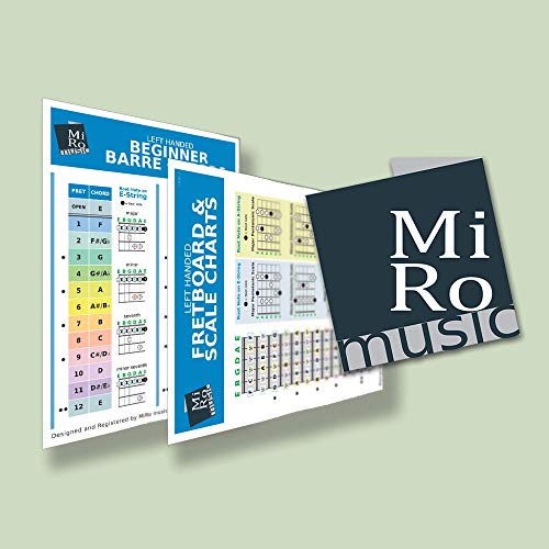 A5 Left Handed Barre Chord Chart & Basic Guitar Scales Card for all experiences