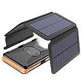 X-DRAGON Powerbank Solare 25000mAh,Caricabatterie Solare Batteria Esterna con 4 Portatile Pannelli Solari, Uscite e Ingressi USB Dual per Cellulare iPhone Smartphone Campeggio(Nero)