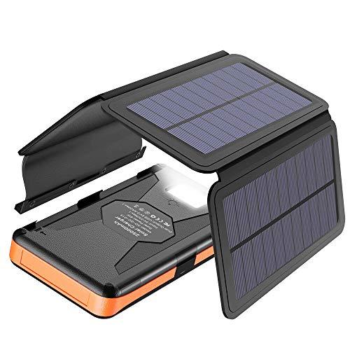 X-DRAGON Solar Powerbank 25000mAh Solarladegerät mit 4 Solarzellen, LED-Taschenlampe und wasserdichtem externem Akku für mobilen Laptop im Freien