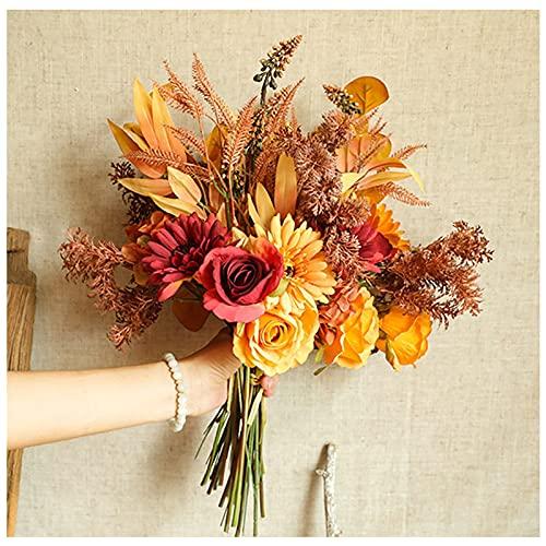 WDDLD Ramos De Flores Artificiales, Flores Artificiales Decorativas, Rosas Y Crisantemos, Hogar, Interior, Oficina, DecoracióN De Mesa, DecoracióN De Centro De Bodas