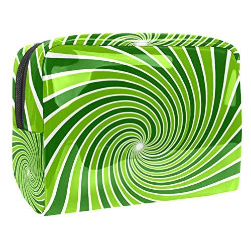 Bolsa de maquillaje portátil con cremallera, bolsa de aseo de viaje para mujeres, práctica bolsa de almacenamiento cosmético, vigas verde