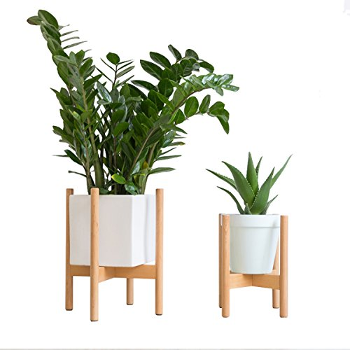 Riseon Mid Century Modern Plant Stand Wood Indoor Flower Pot Holder Display Potted Rack Rustic Large Wooden Floor Planter Stand Planter Not Included Small Natural Wantitall