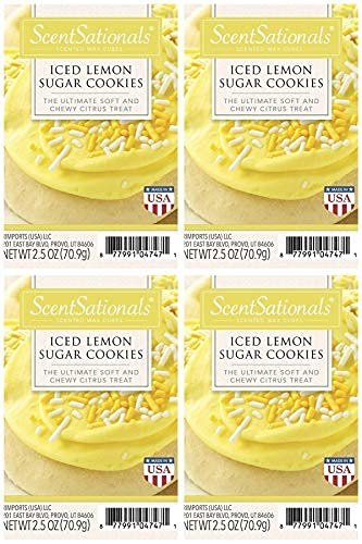 Scentsationals Scented Wax Fragrance Melts - Iced Lemon Sugar Cookies - Wax Cubes Pack, Home Warmer Tart, Electric Wickless Candle Bar Air Freshener, Spa Aroma Decor Gift - 2.5 oz (4-Pack)