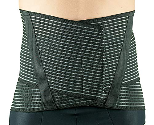 MANIFATTURA BERNINA Sana 5177 - Cinturón Faja ortopédica Negra Apoyo para Espalda con Varillas en Material Transpirable