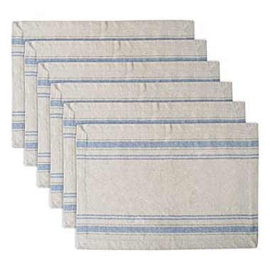 DII 100% Cotton, Machine Washable, Everyday French Stripe Placemat For Dinner Parties, Summer & Outdoor Picnics, Set of 6 - Nautical Blue
