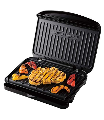 George Foreman 25810 Medium Fit Grill - Versatile Griddle, Hot Plate and Toastie Machine with Improved Non-Stick Coating and Speedy Heat Up, Black