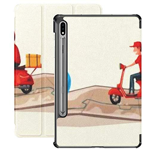 Funda Galaxy Tablet S7 Plus de 12,4 Pulgadas 2020 con Soporte para bolígrafo S, Entrega rápida y Gratuita por Scooter Vector Funda Protectora Tipo Folio con Soporte Delgado para Samsung