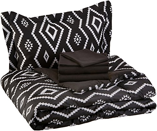 AmazonBasics 5-Piece Light-Weight Microfiber Bed-In-A-Bag Comforter Bedding Set,...
