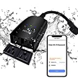 Outdoor Smart Plug, Peteme Outdoor Wi-Fi Outlet with 2 Sockets, Compatible with Alexa, Google Home, Wireless Remote Control/Timer by Smartphone, IP44 Weatherproof, FCC/RoHS certified.