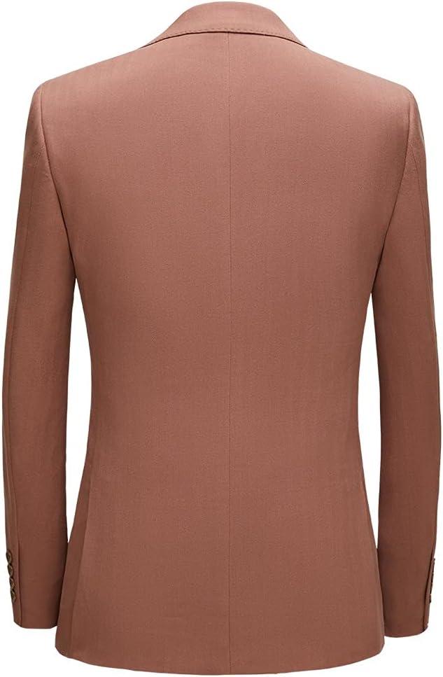 NJBYX 3 Piece Men's Wedding Suit Fashion Men's Slim Solid Color Business Office Suit Men Blazer+ Pants + Vest (Color : Light Brown, Size : XXXL for 75 to 80 kg)