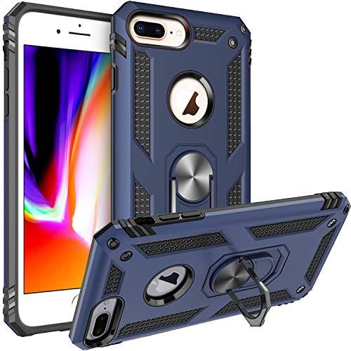 Fetrim Custodia per iPhone 7 Plus, Cover PC TPU Cassa Shell Supporto di Anello Rotante Case per Apple iPhone 6 Plus/6S Plus/7 Plus/8 Plus Blu Navy