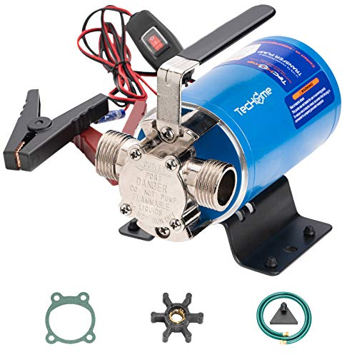 TecHome Water Pump DC 12V 330GPH 1/10HP Portable Low Suction Electric Water Transfer Utility Pump with Water Hose kit, Impeller and Gasket,Blue