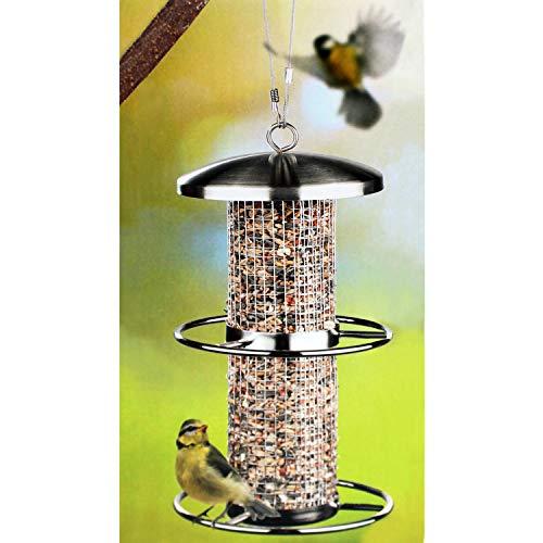 Haushalt International Edelstahl Vogelfutterstation Ø14xH27.5cm Futterspender Futtersäule Futterstelle mit 2 Sitzringen