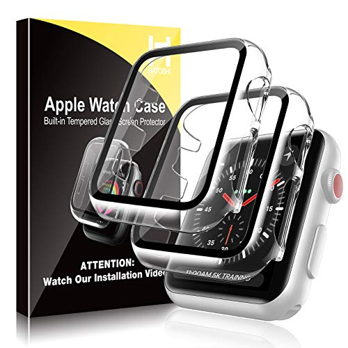 [2 Pack] HATOSHI Hard Case for Apple Watch 40mm Series 6/5/4/SE Built-in Tempered Glass Screen Protector,Ultra-Thin AllAround Protective Glass Screen Cover for iWatch 40mm (Clear)