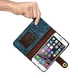 iPhone6/6S/7本革ケース レザーケース 牛革手帳型 財布型 保護ケース 分離可能手帳型 耐衝撃カバー カード入れ 小銭入れ マグネット留め具付き 磁石タイプ 耐摩擦 耐汚れ 全面保護 プレゼントに最適 (iphone5/5S/SE, Blue)