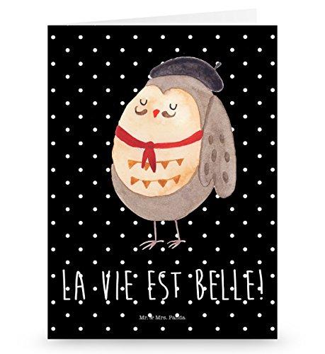 Mr. & Mrs. Panda Grußkarte Eule Französisch - Eule, Eulen, Eule Deko, Owl, hibou, La vie est belle, das Leben ist schön, Spruch schön, Spruch Französisch, Frankreich Grusskarte, Klappkarte, Einladungskarte, Glückwunschkarte, Hochzeitskarte, Geburtstagskarte