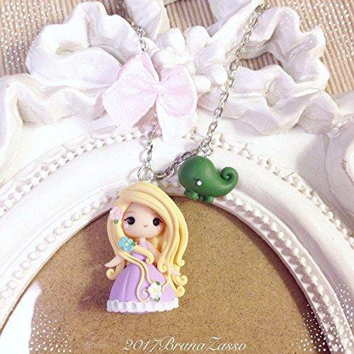 Collana Chibi Rapunzel Cute Disney Fimo Polymer Clay Kawaii tiny Princess Principessa Pascal Regalo Handmade Fiori Fiocco Fiaba
