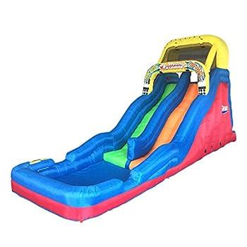 Banzai Double Drop Raceway 2 Lane Inflatable Kids Outdoor Backyard Bounce Water Slide Splash Park