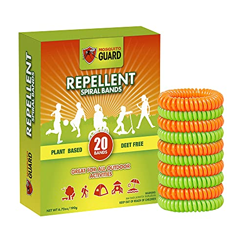 Mosquito Guard Kids Repellent Bands / Bracelets (20 Individually Packed Bands) Made with Natural Plant Based Ingredients - Citronella, Lemongrass Oil and Geraniol. DEET Free.