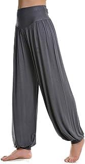 HXLG Soft Pilates Pants Womens Lounge Leggings Long Baggy Trousers Harem Pants Cotton Yoga Pants (Color : Grey, Size : Large)