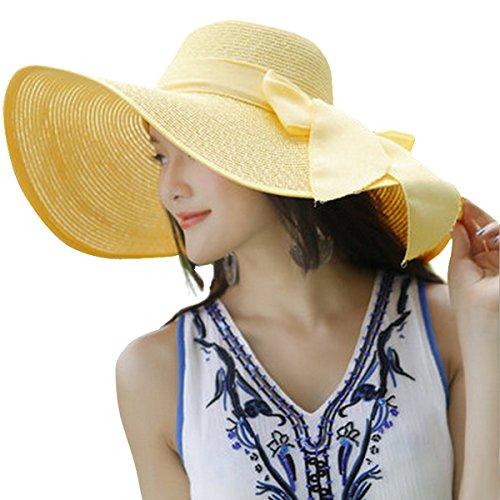 Lanzom Womens Big Bowknot Straw Hat Floppy Foldable Roll up Beach Cap Sun Hat UPF 50+ (Yellow, One Size)
