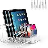 SooPii - Base de carga USB de 6 puertos para múltiples dispositivos, 6 cables de carga incluidos, compatible con Apple iPad, iPhone, iPod y otros dispositivos electrónicos, color blanco