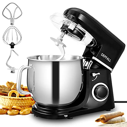 DEPFALL Stand Mixer, 10.5-QT 660W 6-Speed Tilt-Head Food Dough Mixer, SM-1507N Kitchen Electric Mixer with Stainless Steel Bowl, Hook, Whisk, Beater for Home Cooking Gift (10L, Shiny Black)