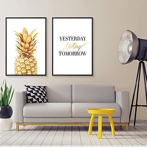 jzxjzx De creatieve eenvoudige koffiestube van decoratief schilderij schildert gouden ananasschilderijen