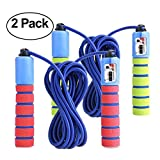 jump rope package - KINGSOO Jump Rope Kids,2 Pack Speed Jump Rope for Kid,Adjustable Lightweight Rope for Heart Boxing Equipment Exercise (2 Unit-Red&Blue)