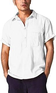 花千束 リネンシャツ メンズ 半袖 カジュアルシャツ 立ち襟 シンプル 柔らかい 無地 トップス 夏 インナーシャツ 大きいサイズ カットソー tシャツ