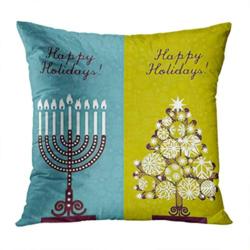 Hanukkah Throw Pillow Cover,Pair of Happy Holidays! Christmas Tree and Channuka Candles,Cushion Cases Shams for Indoor Outdoor Home Decor Living Room Bedroom Office Cotton Pillowcase,18'x18'