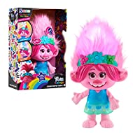 """Comes dressed in her blue flower dress and flower crown Finger paint fun designs in Poppy's hair Sing along with Poppy to """"Trolls Just Wanna Have Fun"""" Can play a Simon Says-Style Game Poppy even says over 30 phrases"""