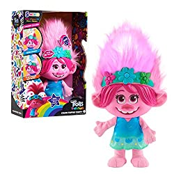 "Comes dressed in her blue flower dress and flower crown Finger paint fun designs in Poppy's hair Sing along with Poppy to ""Trolls Just Wanna Have Fun"" Can play a Simon Says-Style Game Poppy even says over 30 phrases"