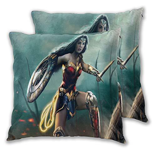 Juego de 2 fundas de almohada, diseño de Wonder Woman Batfield para sofá, cama, silla, decorativa, 55 x 55 cm, color azul
