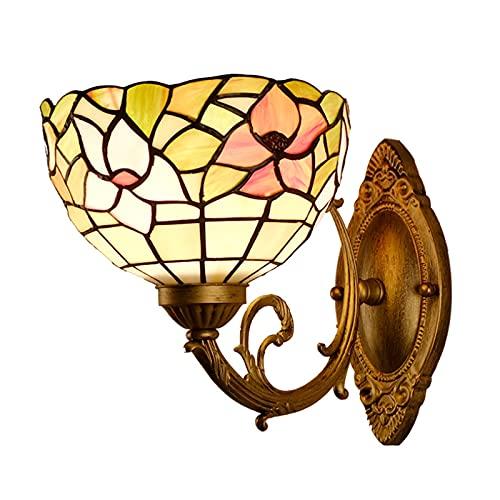 AWCVB Luz De Pared Lámpara De Pared Tiffany De Estilo Rústico Lámpara De Noche para Dormitorio Pantalla De Vitral para Sala De Estar Estudio Loft Comedor