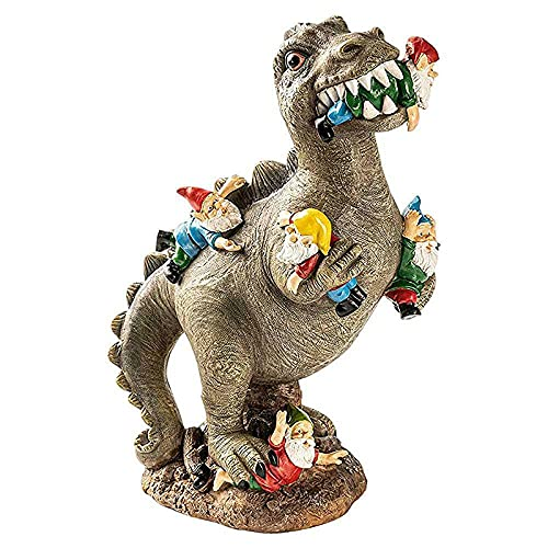 ECAAUYTO The Great Garden Gnome Massacre, Garden Dinosaur Eating Gnomes Statues, Funny Garden Sculpture for Patio, for Lawn, Yard Art Decoration Statues