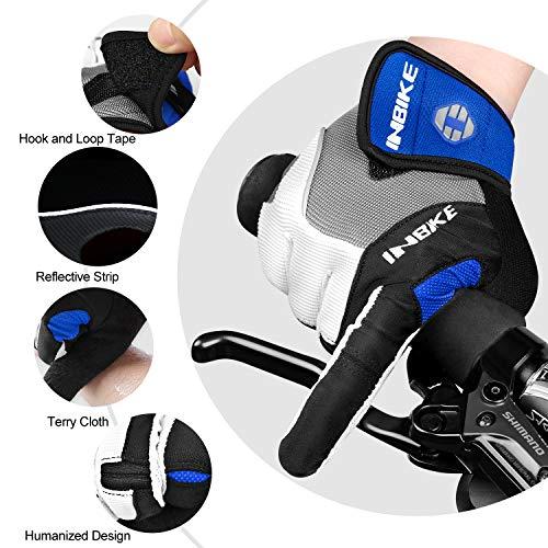 Inbike Herren Fahrradhandschuhe Mit Gel vollfinger MTB Handschuhe für das Radfahren(Blau-Lang,L) - 5