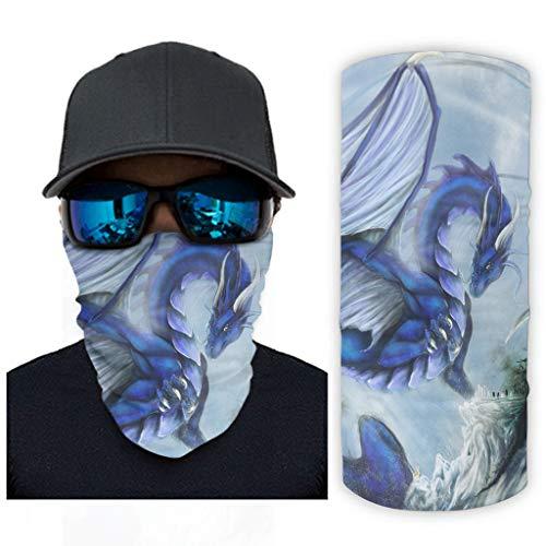 NA Fantasie Deatshitter blauwe draak dier mythos legende druk bandana gezichtsmasker zonnebescherming sjaalmasker